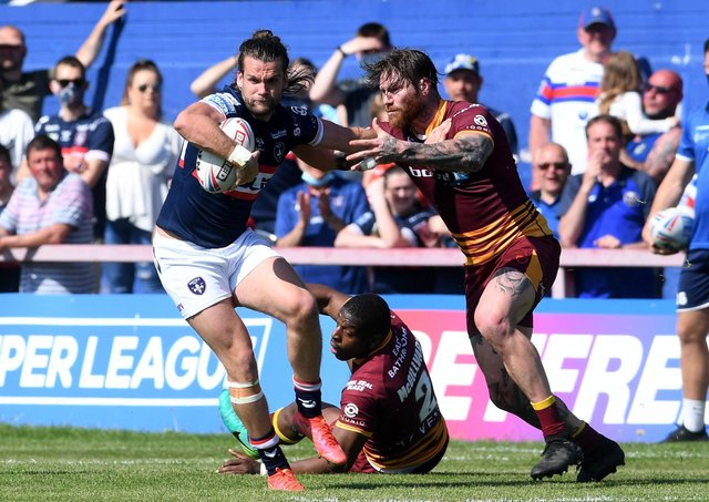 Wakefield Trinity winger Liam Kay scored two tries in the win over Huddersfield Giants. Picture: Simon Hulme/JPIMedia.