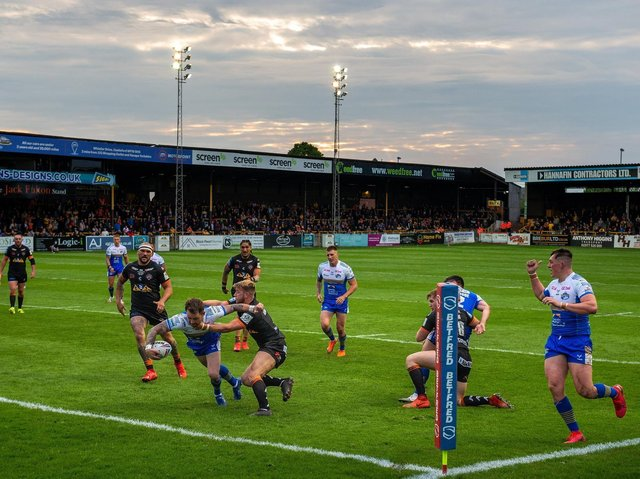 Richie Myler heads for the line in Rhinos' big win at the Jungle. Picture by Bruce Rollinson.