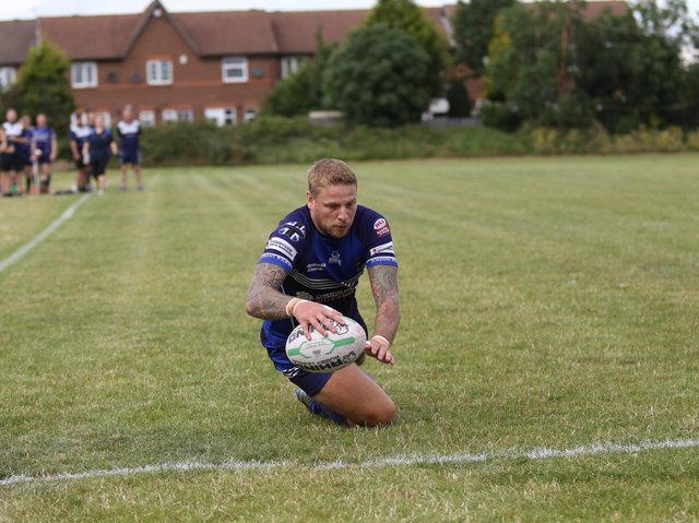 Lee West was among Hunslet Warroiors' try scorers against Oulton. Picture by Hunslet Warriors.