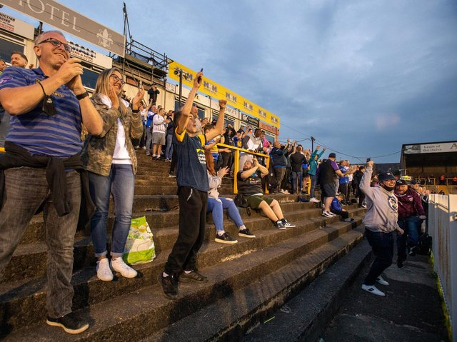 Rhinos fans at Castleford. Picture by Bruce Rollinson.