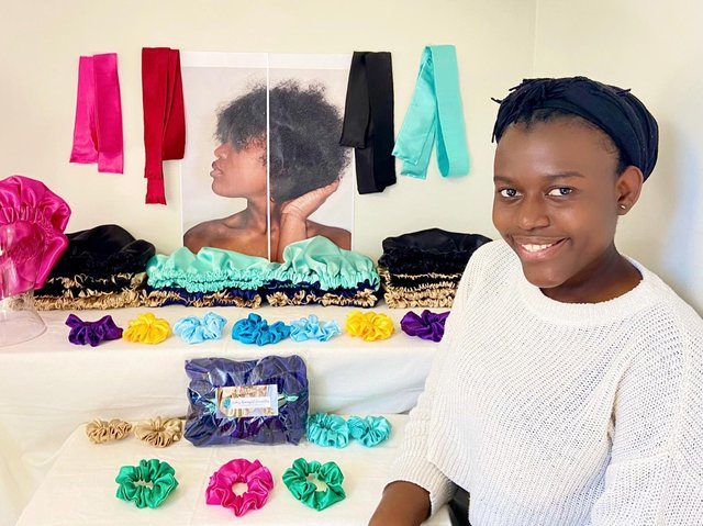 Erika Jean-Guy, 19, runsErika's Meaningful Commodities from her home in Armley