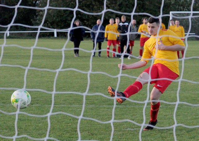 Aberford Albion goalscorer, Liam Thompson. Picture: Steve Riding.