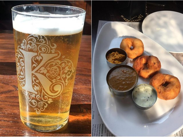 A pint of Tharavadu's exclusive house beer, Somarasam, launched in collaboration with Kirkstall Brewery