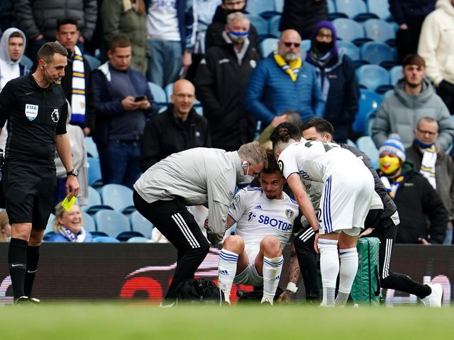 NERVY MOMENT - Leeds United star Kalvin Phillips injured his shoulder right at the end of the final game of the season but is recovering with England as the European Championships loom. Pic: Getty