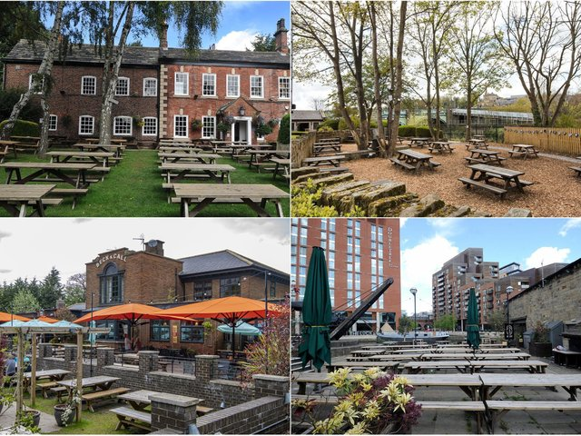 Clockwise from top left: The Mustard Pot, Kirkstall Bridge Inn, Beck and Call and Water Lane Boathouse