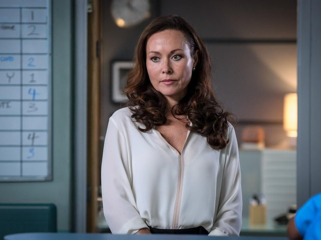 Undated BBC handout photo of Amanda Mealing who is taking a break from Casualty after seven years playing Connie Beauchamp on the medical drama. The actress joined the long-running BBC One series in 2014, moving from sister show Holby City, where she had played the same character for six years (photo: Alistair Heap/BBC).