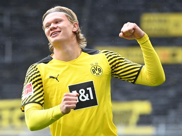 CLASS ACT: Leeds-born Borussia Dortmund and Norwegian international striker Erling Haaland. Photo by INA FASSBENDER/POOL/AFP via Getty Images.