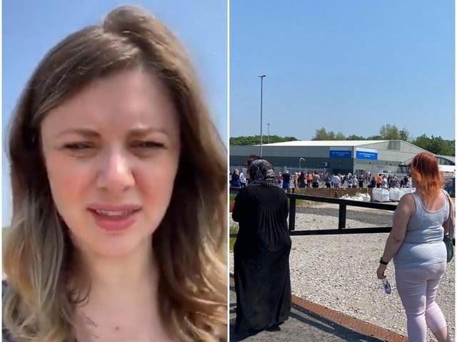 BBC Look North presenter in the queue at Elland Road vaccination centre.