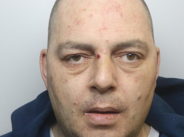 Burglar Lee Thorpe was caught by staff at the Currys PC World store at Crown Point in Leeds.