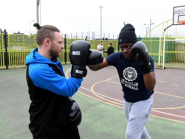 Student Shariff Salam with Danny Jessop doing boxing training at Southway.