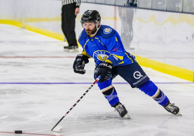 SOLE FOCUS: Defenceman Sam Zajac, pictured in action for Leeds Chiefs during the 2019-20 NIHL National season. Picture courtesy of Mark Ferriss.
