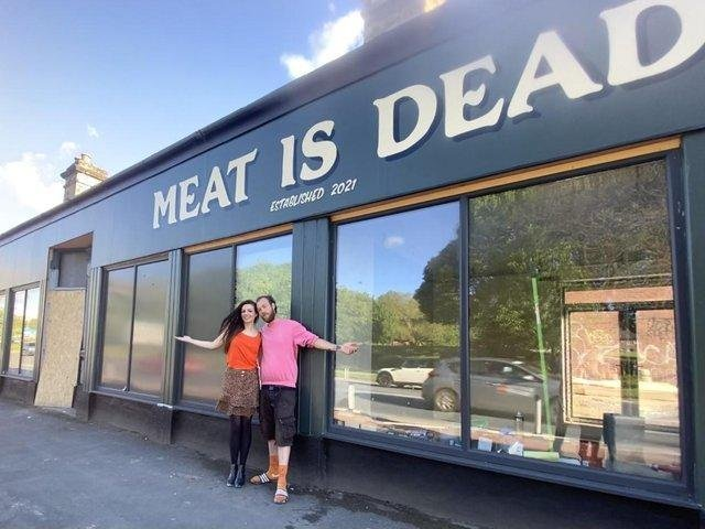 Vic and Joe outside Meat is Dead in Kirkstall Road, which will open on June 16.