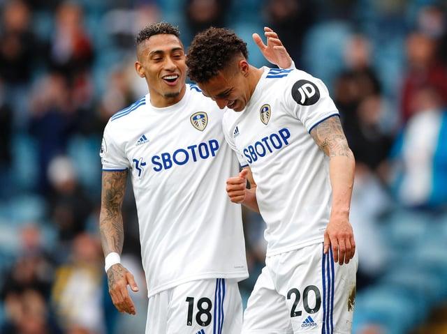 Leeds United winger Raphinha celebrates at Elland Road with Rodrigo. Pic: Getty