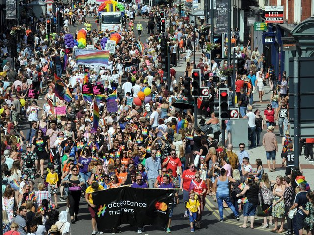 Under the Equality Act, it is illegal to discriminate against someone on the basis of their gender identity. Pictured: Leeds Pride 2018