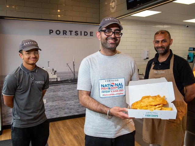 A popular family-run fish and chip shop in Leeds is offering 'free chips for everyone' today to celebrate National Fish and Chip Day and their opening success during lockdown. Pictured is Kully Koda and staff Keldan Copeland and Valjit Sour.