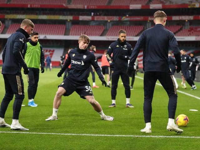 Leeds United forward Joe Gelhardt warms up at Arsenal. Pic: Getty