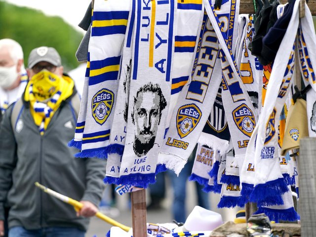 Leeds United scarves on sale at Elland Road. Pic: Getty