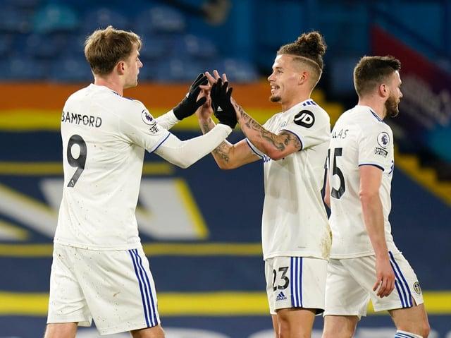 Leeds United striker Patrick Bamford celebrates with teammate Kalvin Phillips. Pic: Getty