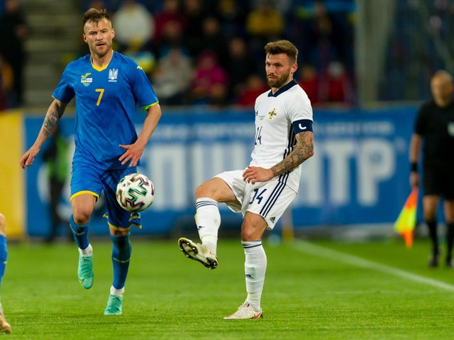 Leeds United's Stuart Dallas in action for Northern Ireland against Ukraine. Pic: Getty