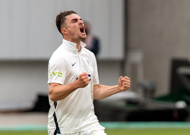 Got him: Jordan Thompson celebrates taking Stiaan van Zyl's wicket, caught by wicketkeeper Harry Duke for 15. Thompson claimed 3-42 on the day. Picture Bruce Rollinson