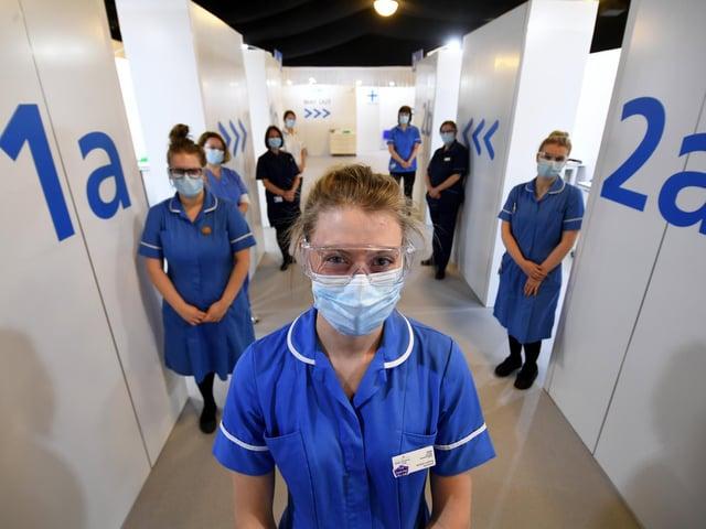 Staff at the Elland Road Vaccination Centre.