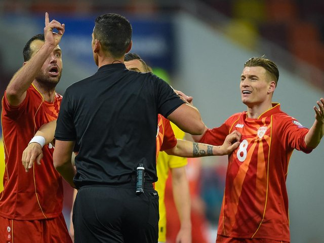 ON SONG: Leeds United's Gjanni Alioski, right, as North Macedonia blitzed Kazakhstan. Photo by ANDREI PUNGOVSCHI/AFP via Getty Images.