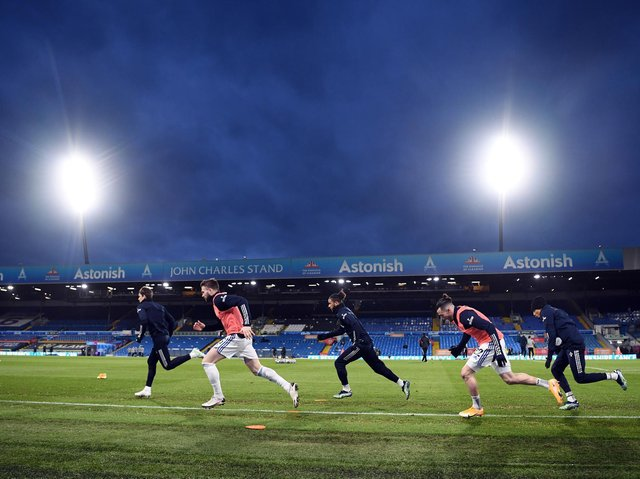 Leeds United's players warm-up at Elland Road. Pic: Getty
