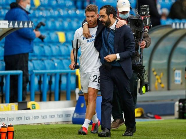 Leeds United sporting director with Gaetano Berardi at Elland Road. Pic: Getty