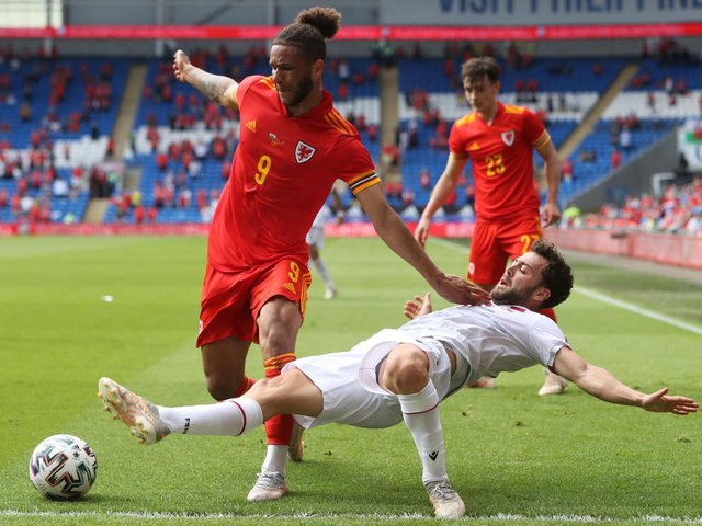 Leeds United forward Tyler Roberts in action for Wales against Albania. Pic: Getty