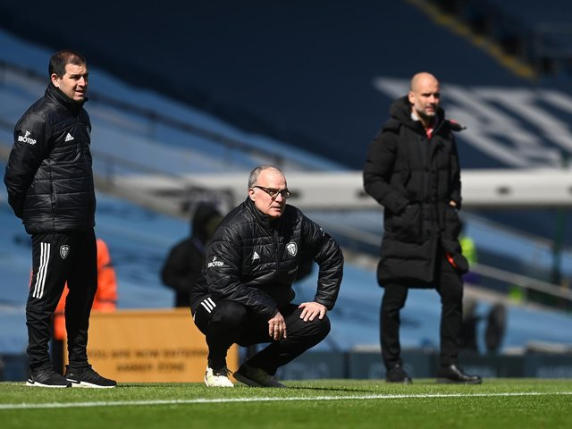Leeds United boss Marcelo Bielsa at the Etihad stadium during his side's 2-1 win over Manchester City. Pic: Getty