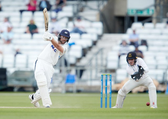 LEADING MAN: Dawid Malan drives through the covers on his way to reaching 150 at Headingley against Sussex. Picture by John Clifton/SWpix.com