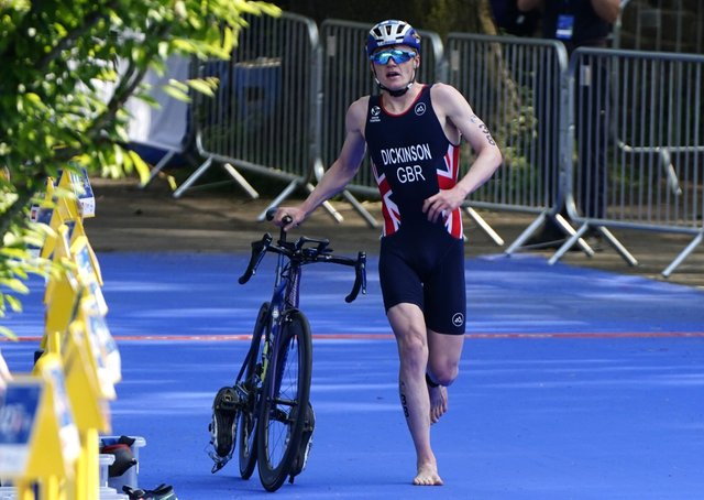 Pedal power: Sam Dickinson in action during the AJ Bell 2021 World Triathlon Championship Series in Leeds.