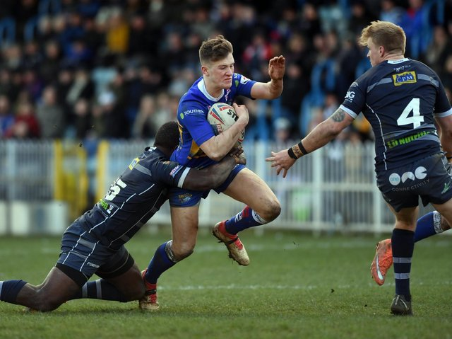 Liam Whitton, seen in Leeds Rhinos action against Featherstone Rovers, scored for Siddal in their win over Hunslet Parkside. Picture by Jonathan Gawthorpe.