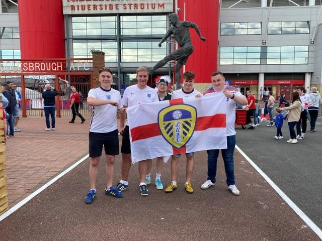 """Friends Sam Bird, 22, a payroll administrator, Jack Caulfield, 24, a print assistant, James Parkinson, 25, a warehouse operative, Alex Webb, 23, a warehouse operative and Ryan McGuinness, 25, an analyst cheered on the Leeds United striker """"because he should be in the squad""""."""