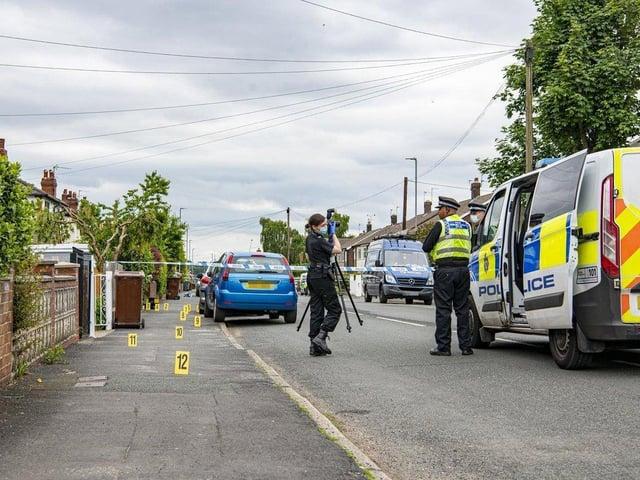 The police cordon on St Anne's Drive, Headingley (photo: Tony Johnson)