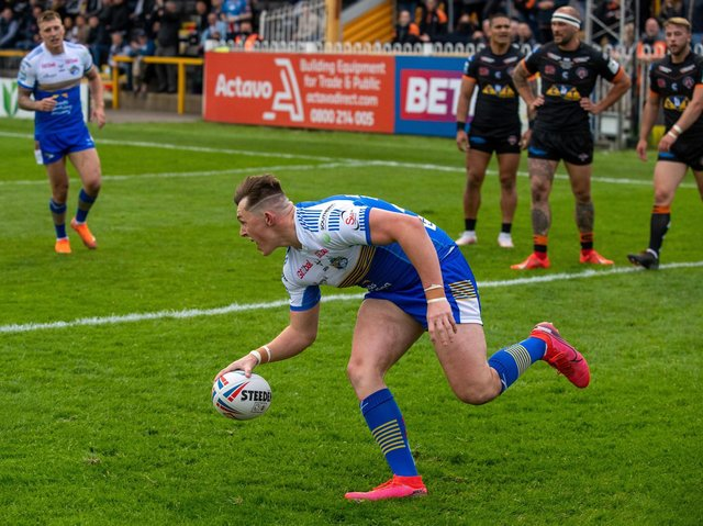 Jack Broadbent touches down for Rhinos against Castleford. Picture by Bruce Rollinson.