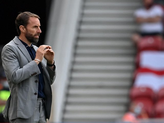 LOOKING ON: England boss Gareth Southgate during Sunday's final Euros warm-up friendly against Romania at the Riverside. Photo by PAUL ELLIS/POOL/AFP via Getty Images.