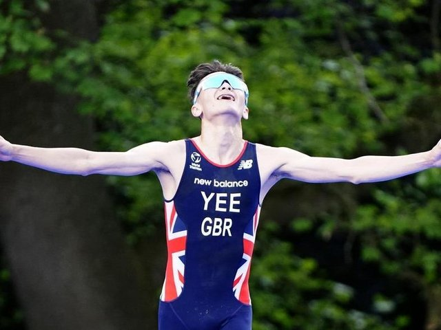 Alex Yee at the finish line in Roundhay Park (photo: PA / Danny Lawson).