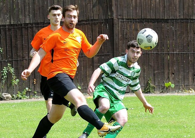 Mark Giddens opens the scoring for Mount St Marys Reserves at Farnley Sports. Picture: Steve Riding.