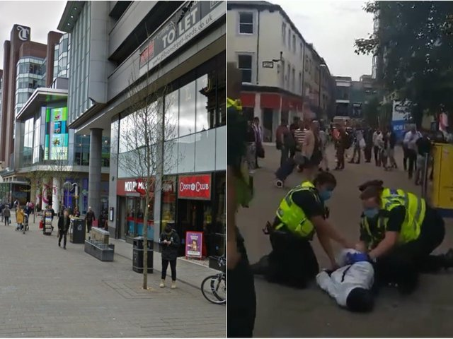A man being arrested in Albion Street (footage: Carly Jones).