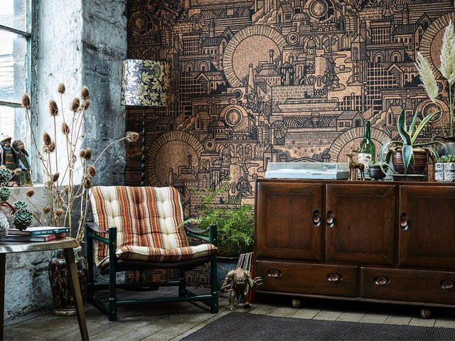 The Monkey Puzzle Tree has been awarded a Design Guild Mark for its 'Hit The North' cork wallpaper (pictured)