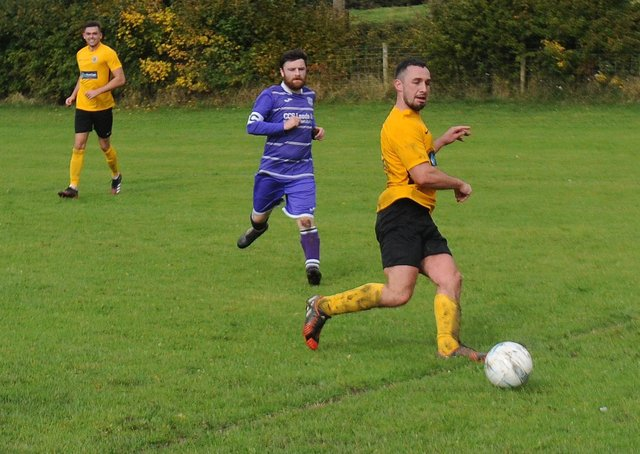Sam Simkins, pictured in action against Amaranth Crossgates last year, scored twice in North Leodis' 2-1 Leeds Combination League Division 4 win over Kippax Old Boys. Picture: Steve Riding.