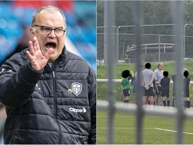 Leeds United coach Marcelo Bielsa at a youth training session in Leeds.