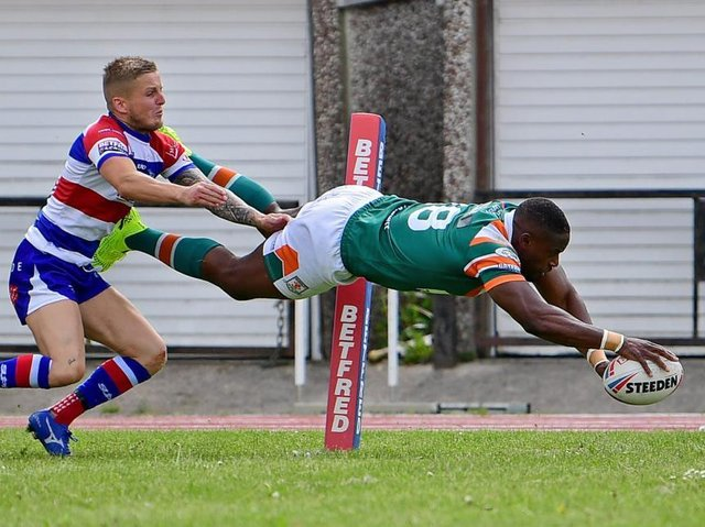 Alex Brown scored two tries on his Hunslet debut agianst Rochdale. Picture c/o Hunslet RLFC.