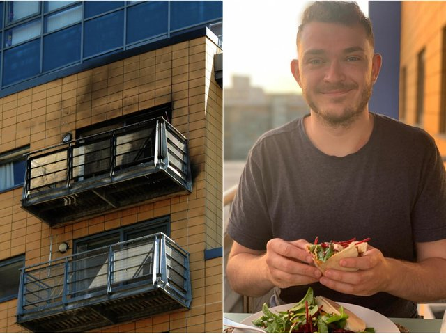 Resident Jamie Lake, 27, was cleaning a window on his balcony when he was alerted to the fire