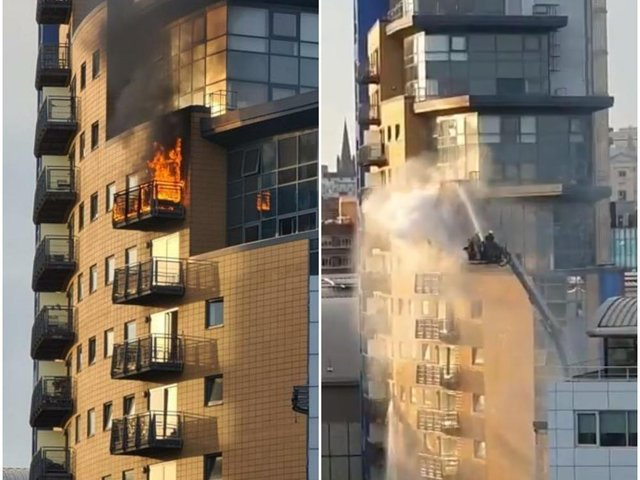 Fire breaks out at a block of flats off Granary Wharf in Leeds.