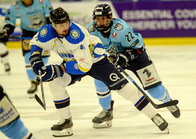 Jordan Griffin, right, chases down Leeds Chiefs forward Radek Meidl while at Sheffield Steeldogs in October 2019.  Picture: Bruce Rollinson