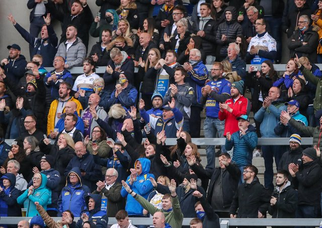 Leeds Rhinos fans got a recent taste of the live action but it didn't last long after the upcoming game with St Helens was postponed owing to positive Covid-19 test results in the camp. Picture: Alex Whitehead/SWpix.com.