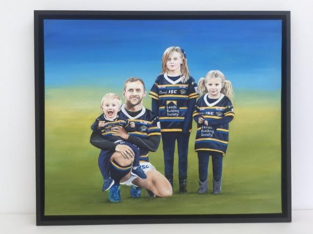 """Brent Sheldon said it was an """"honour and a privilege"""" to paint the artwork - showing Burrow alongside his family - before taking it to his parent's home last week."""