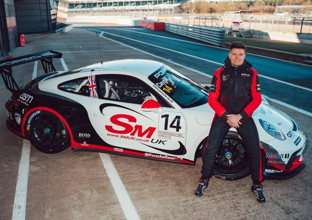 Wetherby's Josh Caygill with his Redline Racing Porsche. Picture: Dan Kathie.